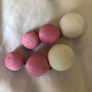 Les Bon Bons style Pink White Ball Drop Earrings